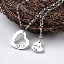 a877fae73f 2Pcs/Set Big Sister Little Sister Necklace Family Double Hollow Love Heart  Charm Necklace Best