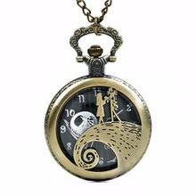De Nightmare Before Christmas Jack Skellington Tim Burton Kid Movie Speelgoed Paarden Modieuze Zwarte Quarzt Zakhorloge Geschenken Mannen(China)