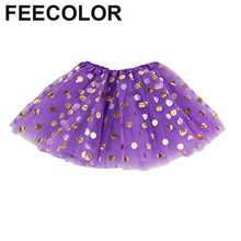 FEECOLOR Baby Girls' Polka Dot Tutu Glitter Ballet Triple Layer Tulle Dance Skirt Princess Dance Wear Party Pettiskirt недорого