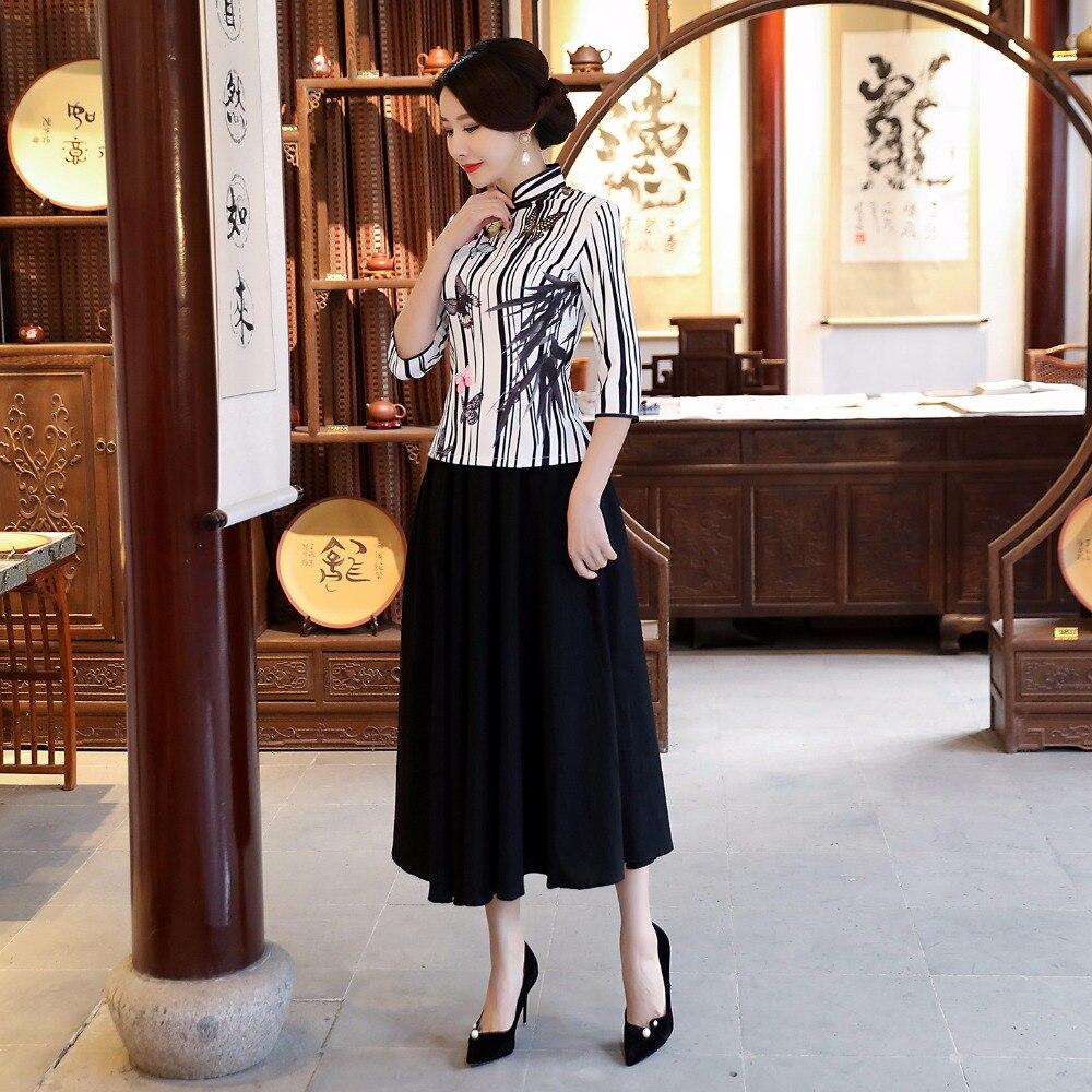 Nouveau été femmes Blouse jupe ensembles style chinois traditionnel 2 pc chemise col Mandarin Cheongsam Qipao robe taille S-XXXL 9960 - 3