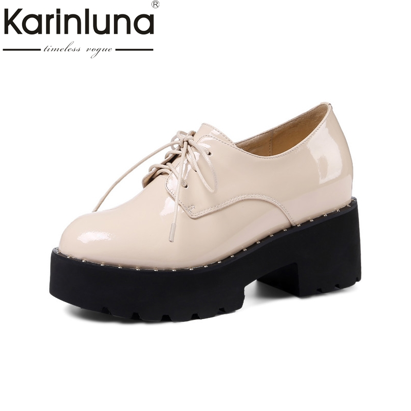Karinluna 2018 Spring Autumn Sweet Patent Lace Up Flat Platform Shoes Woman Height Increasing Women Date Casual Shoes free shipping spring autumn women s flatform casual all match board shoes height increasing shoes