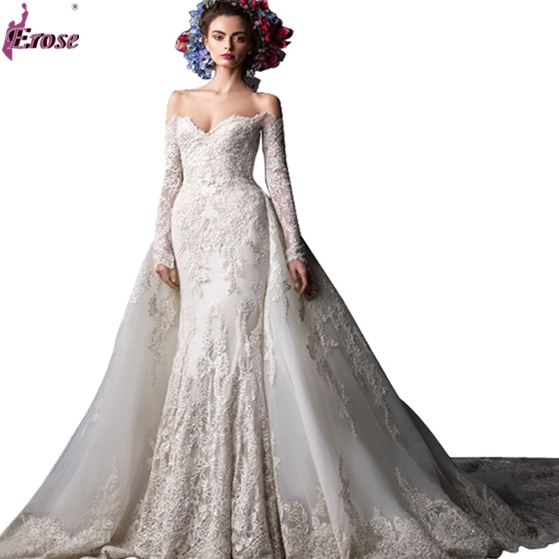 Off Shoulder Lace Wedding Dress With Long Sleeve Court Train Vestido De Noiva Manga Longa