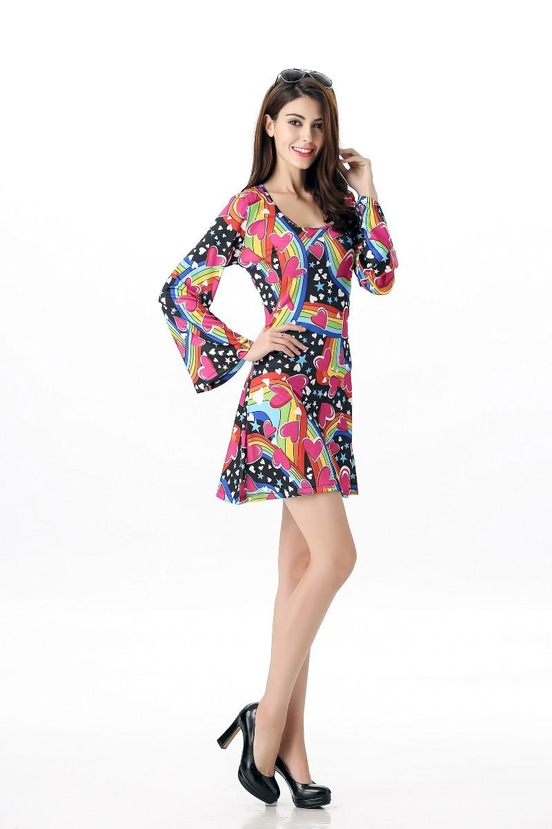 felice Hippie Donne Costume di Halloween Sexy Maniche Lunghe Vibrante  Colorful Retro Party Dress Costume F1613 A ... 7a9f8ca93c3