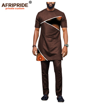 2018 latest africa style casual pants set for men AFRIPRIDE short sleeve long top+full length pants men's cotton set A1816002 1