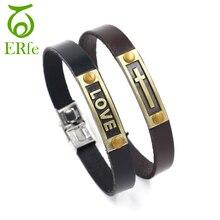 ER Lovers Couple Bracelet Women Men Pair Braslet Leather Cross Bracelets Male Stainless Steel Buckle Hand Accessories LB038