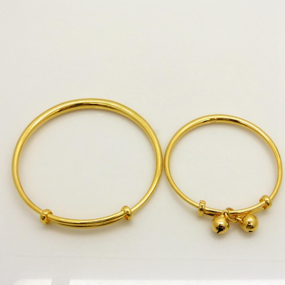 2 шт. браслет набор для мамы и детей желтого золота Заполненные Smooth регулируемый браслет