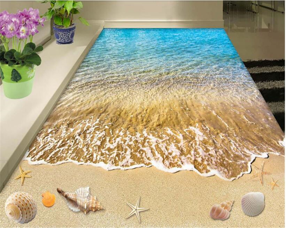 beibehang Modern fashion fit interior pvc stereo 3d wallpaper summer beach bedroom bathroom floor wall papers home decor behang 3d coconut tree beach sunshine pvc wall sticker sea water stone blue sky full color decals home decor