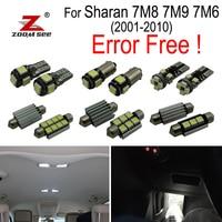 24pcs LED License plate lamp for VW for Sharan 7M 8 7M9 7M6 (2001 2010) LED bulb interior dome light full kit