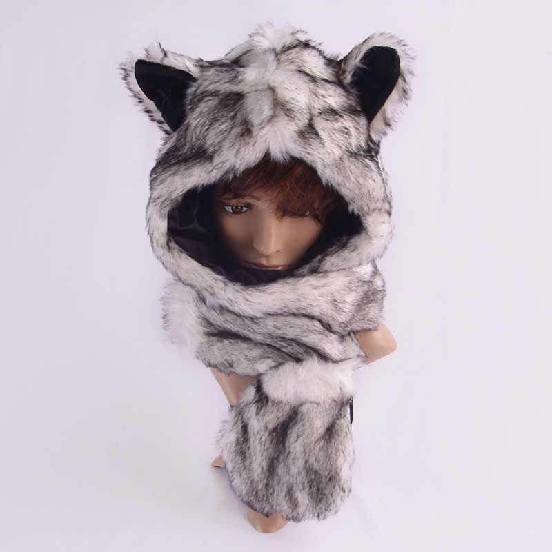 a40fb847 ... Women Men Winter Faux Fur Hood Animal Hat Ear Flap Hand Pockets 3 in1  Hood Hats ...
