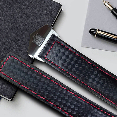 AKGLEADER Newest Genuine Carbon Fiber Leather Strap Band For Samsung Galaxy Watch S4 42mm 44mm Watchbands Bands For Samsung Gear | Fotoflaco.net