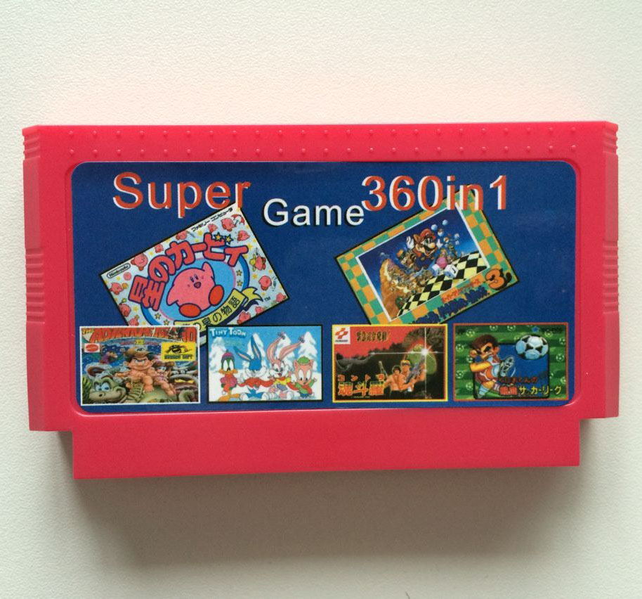 Hot 360 In 1 Red Yellow Black 8 bit 60 pins Game Card