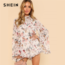 SHEIN Exaggerated Flare Sleeve Frill Flora Print Boho Romper 2018 Women Stand Collar Long Sleeve Ruffle Loose Chiffon Playsuits