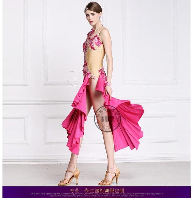customize custom back cutout hign vent split pink stone Rumba cha cha salsa  tango Latin dance competition dress 62506d1b591f