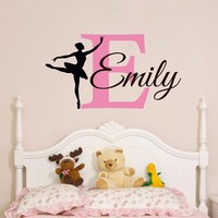 T07016 Ballerina Wall Decal Custom Baby Girl Name Wall Sticker Personalized Girls Bedroom Wall Art Decor