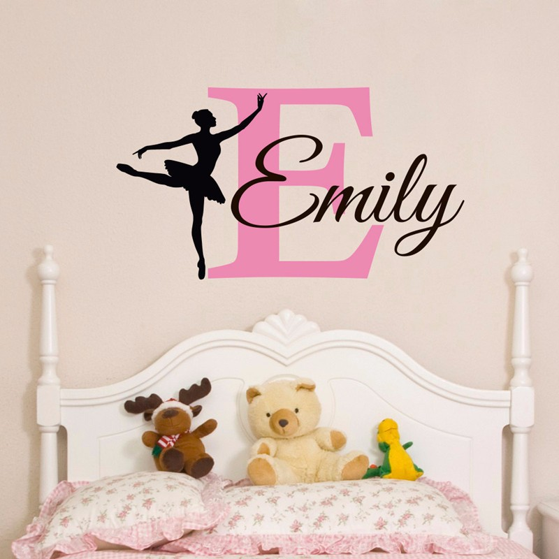 T07016 Ballerina Wall Decal Custom Baby Girl Name Wall Sticker ...