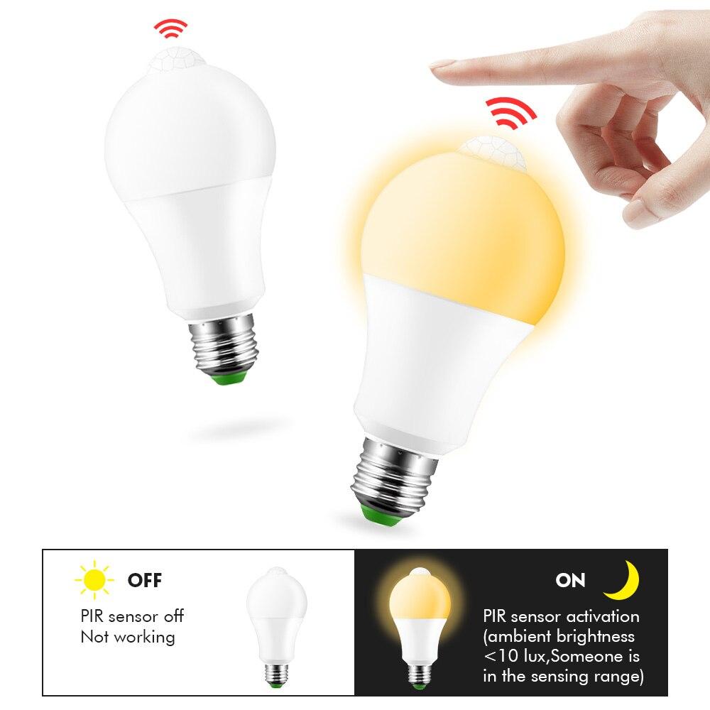 12W E27 Led PIR Motion Sensor Lamp 220V 110V Dusk to Dawn Light Bulb E27 IP42 With Sensor Smart light bulb Day Night light