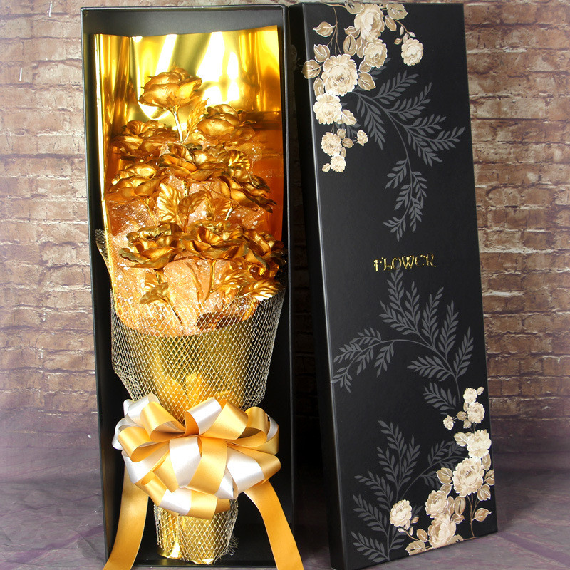 Wedding Love Base Gold Rose With Photo Frame Gold Foil Flower Props Valentine's Day Gift