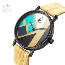SK Creative Wood Women Simple watch Luxury Wood Leather Girl Quartz Analog Wristwatch Casual Clock montre femme bayan kol saati цена