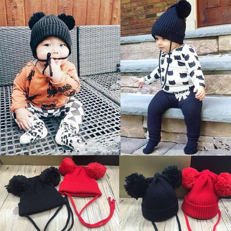 2016 Autumn Baby Hat Bear Knitted Newborn Kids Baby Cap Beanie Infantil Girls Boys Accessories