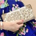 2015 Del Diseñador de Moda de Las Mujeres Carteras Billetera de Cuero de Calidad para Las Mujeres Famosas Marcas de Bolsa De Dinero Clip de Oro Femenina Ladies Purse