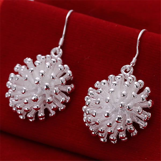 Bright Ese114 Wholesale Silver Plated Earrings , Factory Price 925 Stamped Fashion Jewelry Fireworks Earrings E114 /ayqajpxa