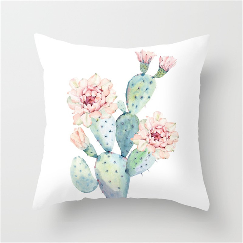 Throw Pillow Case Succulent Plants Printed Cushion Cover for Couch Sofa Bed HG99