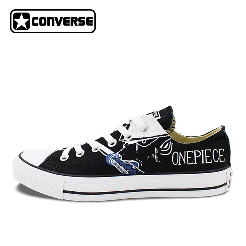 Low Top Black Converse All Star Hand Painted Shoes Anime One Piece Luffy Zoro Men Women's Canvas Sneakers Man Woman Gifts