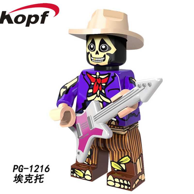 Single Sale Super Heroes Miguel Movie Coco Day of the Dead Holiday Building Blocks Ector De La Curs Toys for children PG1216 super heroes single sale the villain of yellow lantern skeletor heman he man he man building blocks toys for children gift kf921