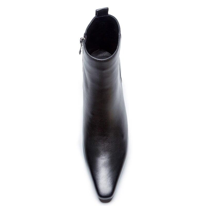 Talon De Suede Véritable Carré En Cuir Black Zipper Femmes Pour Fille Bottes Med Boot Cow Chaussures Black 2018 Msfair Mode Leather cow Cheville 0PXnw8kNOZ