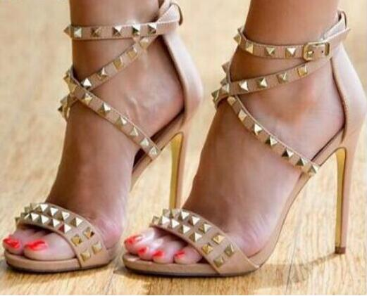 Free Ship Gold Rivets High Heel Sandals Women Cut-out Cross Strap Wedding Dress Shoes Ankle Wrap Stud Strappy SandalsFree Ship Gold Rivets High Heel Sandals Women Cut-out Cross Strap Wedding Dress Shoes Ankle Wrap Stud Strappy Sandals