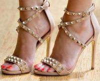 Free Ship Gold Rivets High Heel Sandals Women Cut out Cross Strap Wedding Dress Shoes Ankle Wrap Stud Strappy Sandals