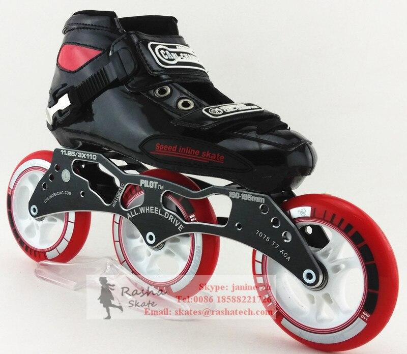 Prix pour Carl champion noir couleur vitesse de patinage chaussures patins à roulettes avec PS vitesse de patinage roues 3*110mm cadre de patinage