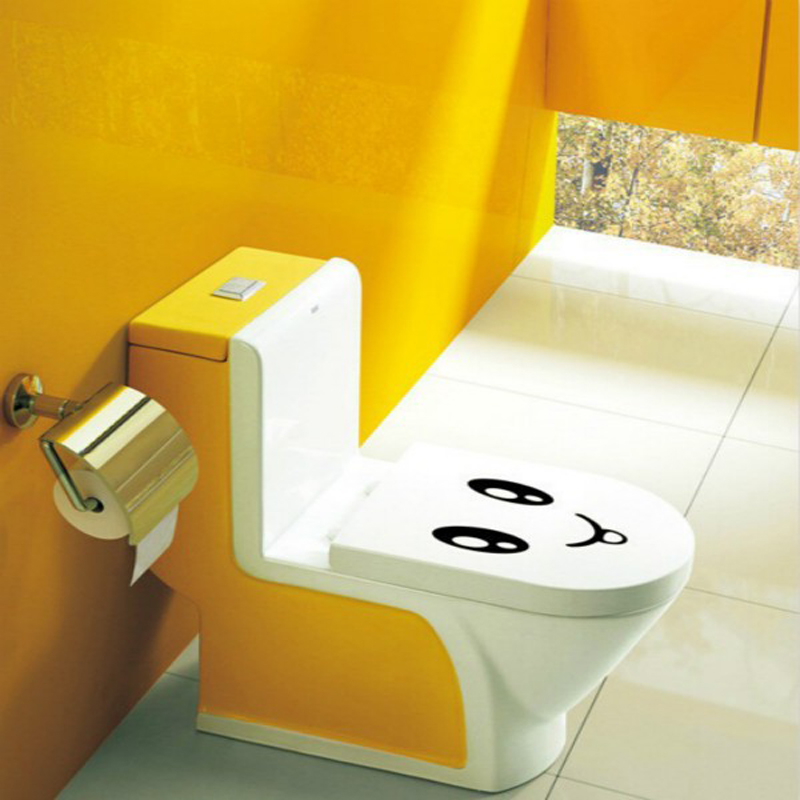 Smiley Face Toilet Sticker Emoji Bathroom Wall Decal Home Decor Removable Stickers On The Seat 3d Vinyl Kids WC In From