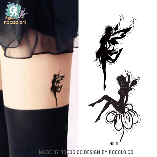 2 Sheets Waterproof Tattoo Sticker Female Models Little Fresh Angel Fairy Girl Big Butterfly Pattern Stickers HC1051