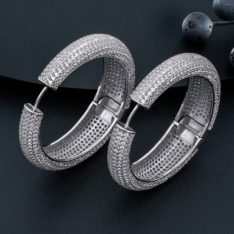 ModemAngel 49mm High Quality Big Earrings For Women Ear Drops Copper Material CZ Stone Micro Pave