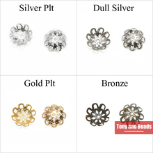 (200Pcs=1Lot ! ) Free Shipping Jewelry Finding 10MM Flower Filigree End Beads Caps Gold Silvers Bronze Nickel Plated No.BC2