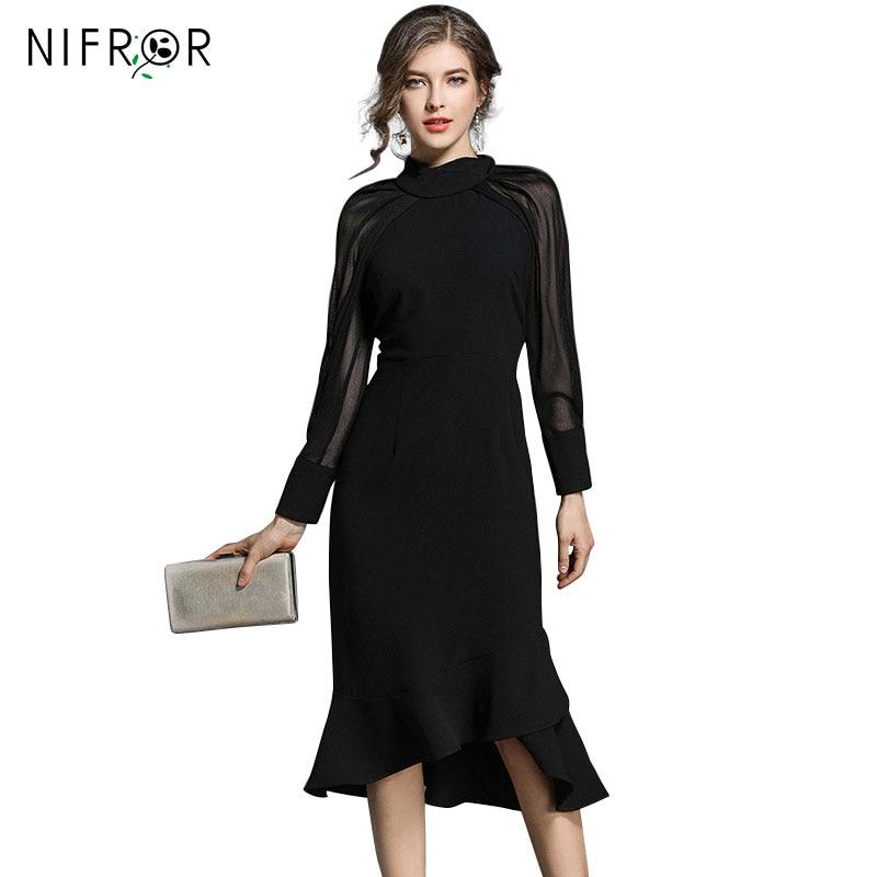 Hepburn magas minőségű futópálya ruha nők 2018 fekete rövid - Női ruházat