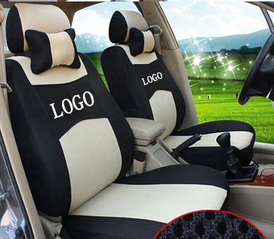 grey/beige/red ventilate Embroidery car logo Car Seat Cover For FORD Focus Fiesta Fusion F-Series with neck luxurious dining chair cover herringbone beige grey and red
