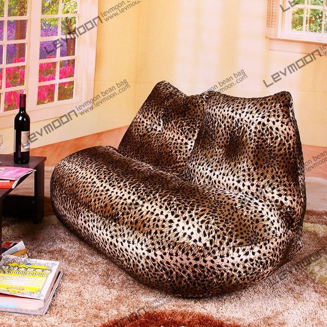 FREE SHIPPING Leopard Print Bean Bag Chairs Loveseat Modern Sofa Chair  Velvet Love Seats Bean Bag