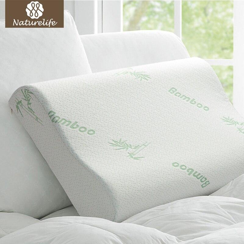 Almohada de fibra de bambú Naturelife rebote lento cuidado de la salud almohada de espuma de memoria almohada de espuma apoyo el alivio de la fatiga del cuello