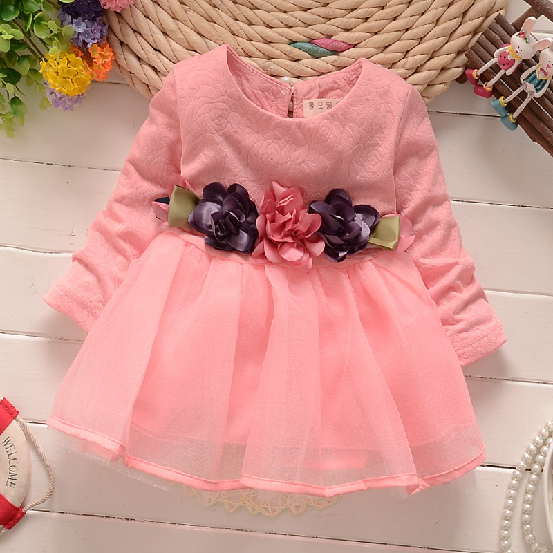 AiLe Rabbit 2017 Fall Newborn Fancy Infant Baby Dresses Girl Frocks Designs Party Wedding with Long Sleeves Birthday Dresses