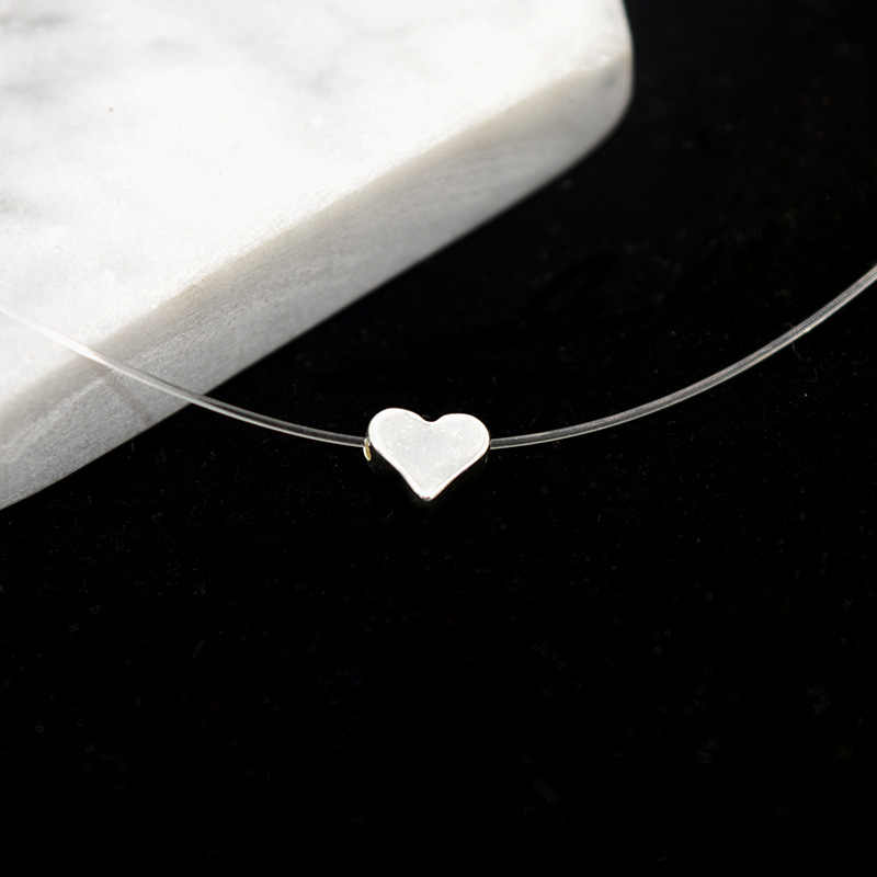 Transparent Fishing Line Chocker Love Heart Choker Necklace For Women Pendants Collier femme colar Collares Mujer bijoux