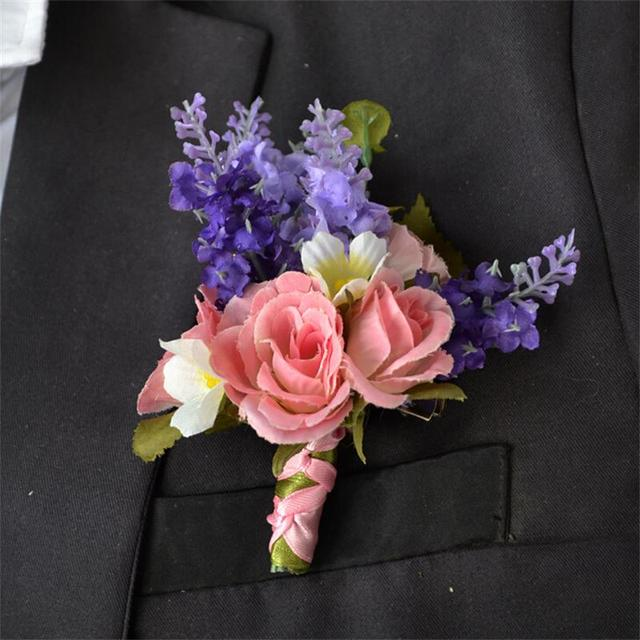 Artificial Fake Silk Rose Flower Simulate Lavender Groom Best Man Boutonniere Wrist Corsage Wedding Flowers Party