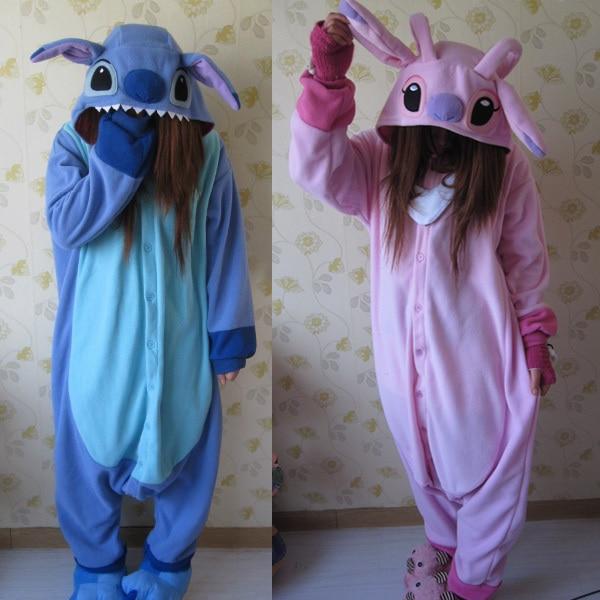 Animal Cosplay Pajamas Costume Women Onesies For Adults Party Pyjamas One Piece Blue Pink Stitch Onesie