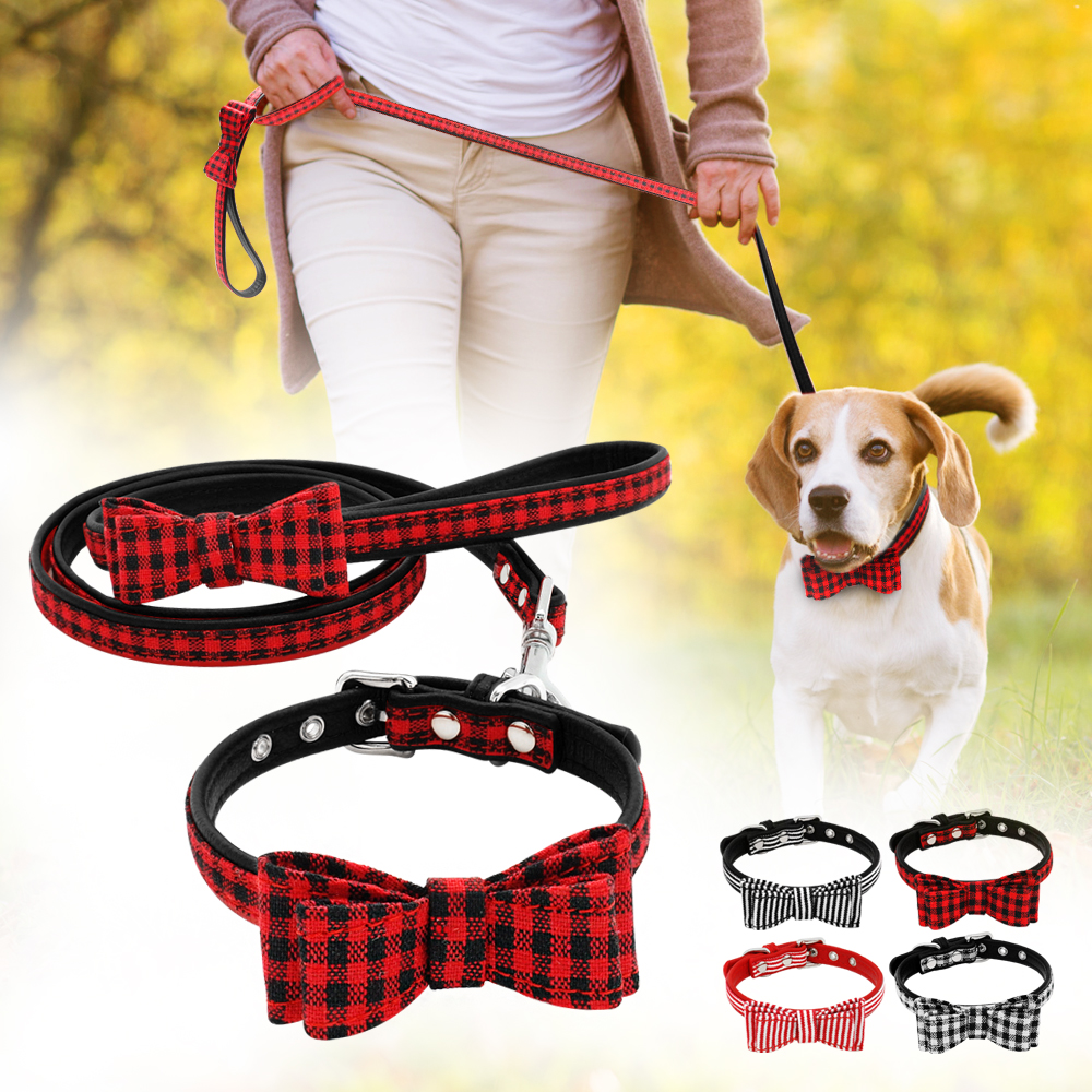 Bowknot Dog Collar And Leash Set Soft Leather Puppy Bowtie Collar Walking Leads Plaid Striped Necklace Acessories