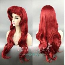 70cm küçük Mermaid kırmızı peruk vücut sentetik dalgalı saç Cosplay peruk prenses Ariel peruk rol oynamak kostüm + peruk kap