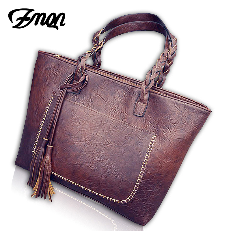 Women Handbags Vintage Bags Retro PU Leather Tote Bag For Girl Large Handbag Women Tassel Casual Hand Bag Shoulder Sac Femme 704 women leather handbags shoulder bag women s casual tassel tote bag female vintage handbags sac a main ladies hand bags