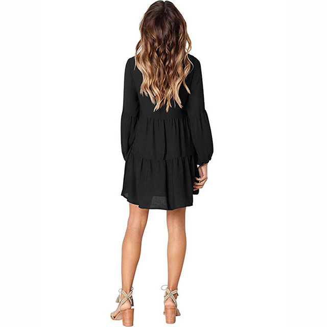 Draped 2018 Autumn Winter Dress Fashion Women Casual Loose Elegance Dress Long Sleeve V-Neck Sexy Black Wine Red Dress Vestidos 2