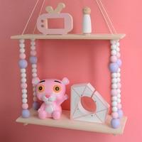 B 2018 new Baby Room Wooden Beads Wall Shelf Storage Wall Decorations Bedroom Bookshelf Decor Organization Hanger