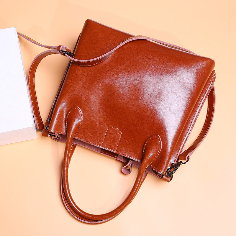 women's bag female genuine leather Fashion Oil Wax Real Cow Leather women bag Women Leather Handbags Casual Brown Bucket bags-in Top-Handle Bags from Luggage & Bags    2